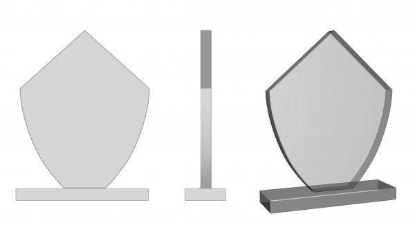 award ontwerp van glas, voorzien met logo bedrukking