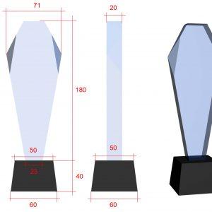 gegraveerde glazen trofee voorzien van eigen afbeelding en logo