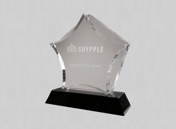 glazen ster award graveren met logo