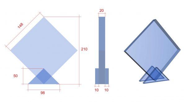 vierkante award graveren met eigen logo